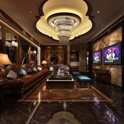 KTV, 吊灯, 多人沙发, 边几, 台灯, 凳子, 现代