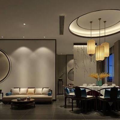新中式客餐厅, 吊灯, 桌子, 椅子, 边几, 新中式沙发, 茶几, 壁画, 新中式