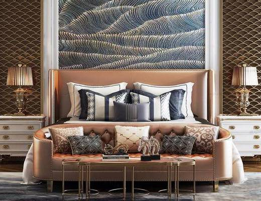 后现代, 床具组合, 沙发茶几组合, 陈设品组合