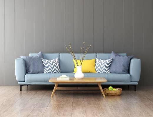 沙发组合, 多人沙发, 茶几, 北欧