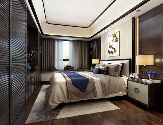 现代简约, 卧室, 床具组合, 花瓶, 床头柜, 下得乐3888套模型合辑