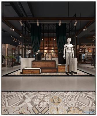 服装店, 男装, 展示, 饰品, 衣帽, 模特, 现代简约, 复古, 工业风