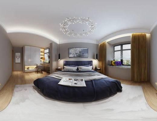 现代卧室, 吊灯, 双人床, 壁画, 桌子, 椅子, 置物柜, 边几, 台灯, 现代