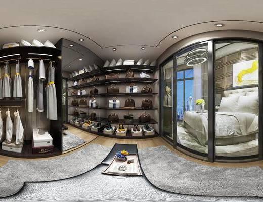 现代衣帽间, 衣柜, 衣服, 抱枕, 双人床, 现代