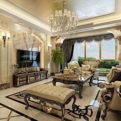 欧式客厅, 餐厅, 欧式沙发, 电视柜, 吊灯, 沙发组合