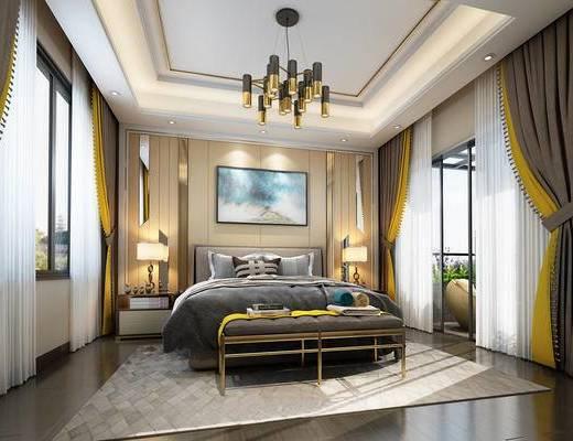 现代简约, 卧室, 床具组合, 台灯, 吊灯, 植物