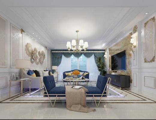 欧式客厅, 吊灯, 茶几, 边几, 多人沙发, 椅子, 电视柜, 沙发躺椅, 壁画, 台灯, 欧式