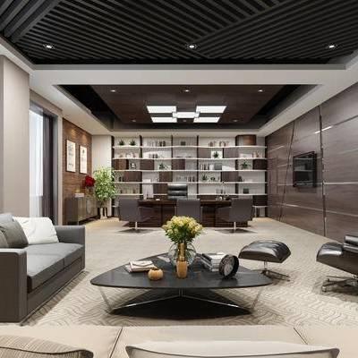 办公室, 办公桌, 椅子, 沙发, 茶几, 置物架, 摆件, 盆栽, 现代