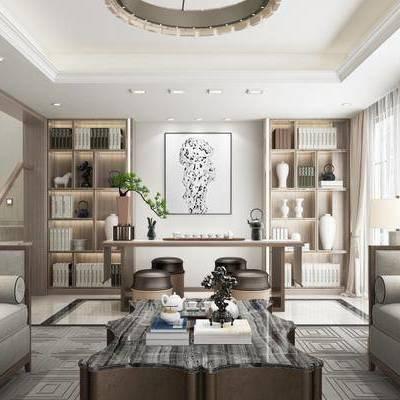 新中式客厅, 茶几, 多人沙发, 桌子, 壁画, 置物柜, 台灯, 凳子, 新中式