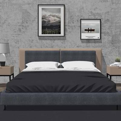 床, 床具, 挂画, 现代, 床头柜, 台灯