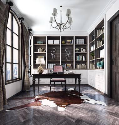 新中式书房, 置物柜, 吊灯, 桌子, 椅子, 台灯, 新中式
