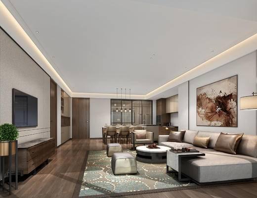 现代客厅, 多人沙发, 茶几, 电视柜, 壁画, 落地灯, 桌子, 椅子, 沙发凳, 现代