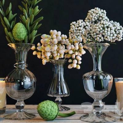 欧式简约, 花瓶, 花卉, 摆件, 下得乐3888套模型合辑