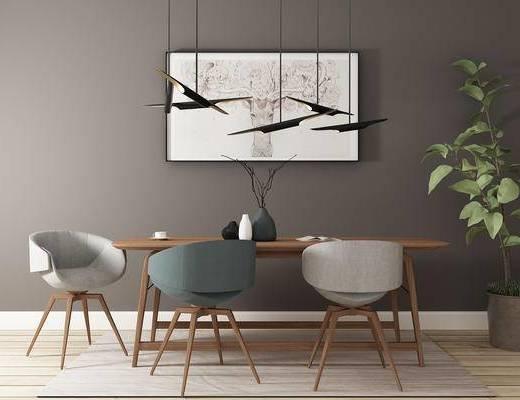 桌椅组合, 桌子, 椅子, 吊灯, 壁画, 盆栽, 北欧