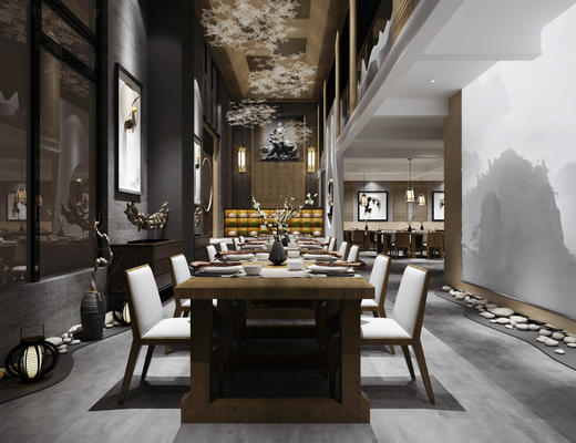 中式, 餐厅, 桌椅组合, 吊灯, 餐具组合, 陈设品组合