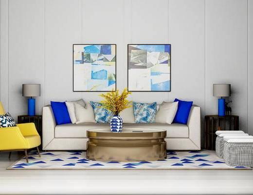 现代沙发组合, 双人沙发, 沙发凳, 沙发椅, 茶几, 台灯, 现代
