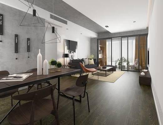 北欧客厅, 电视柜, 吊灯, 桌子, 椅子, 茶几, 多人沙发, 台灯, 边几, 北欧