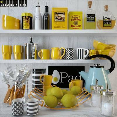 北欧, 餐具, 被子, 茶壶, 碗, 盐, 水果, 梨