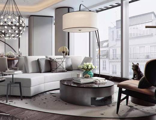 桌椅这组合, 落地灯, 沙发, 花瓶, 后现代, 餐厅
