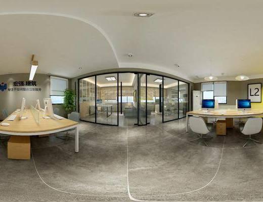 现代办公室, 桌子, 椅子, 吊灯, 壁画, 置物柜, 现代