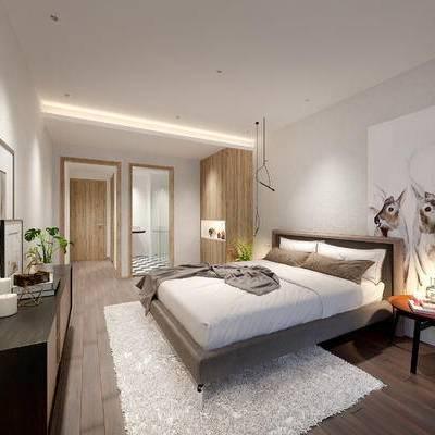 现代宾馆, 双人床, 吊灯, 柜子, 壁画, 盆栽, 现代