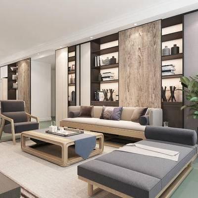 中式客厅, 多人沙发, 茶几, 椅子, 沙发躺椅, 盆栽, 桌子, 置物柜, 地毯, 中式