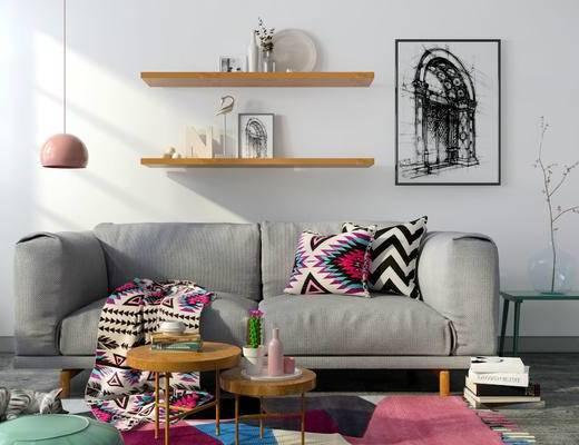 北欧客厅, 壁画, 双人沙发, 茶几, 边几, 吊灯, 置物架, 花瓶, 北欧