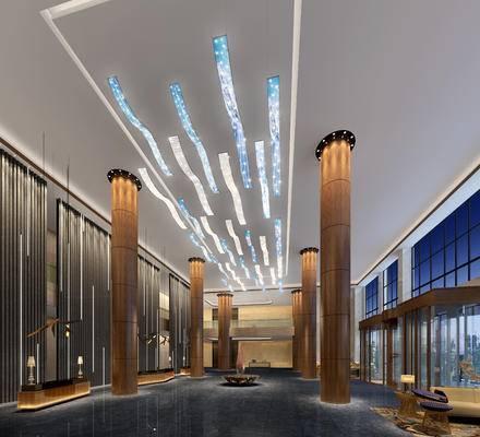 大厅, 吊灯, 多人沙发, 前台, 桌子, 椅子, 边几, 现代