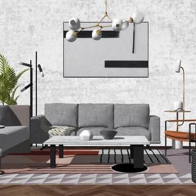 沙发组合, 多人沙发, 吊灯, 植物, 椅子, 边几, 茶几, 挂画, 现代