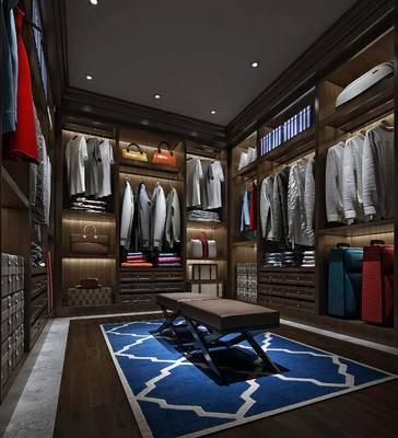 现代衣帽间, 衣柜, 衣服, 凳子, 现代