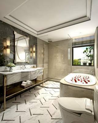 卫生间, 洗手台, 浴缸, 壁灯, 马桶, 淋浴间, 洗漱用品, 镜子, 欧式
