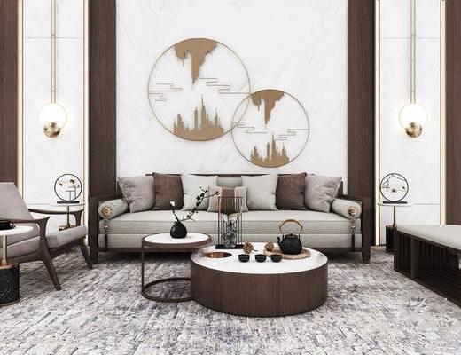 沙发组合, 茶几组合, 壁灯, 背景墙, 单椅