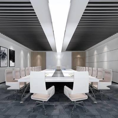 现代会议室, 桌子, 椅子, 壁画, 现代