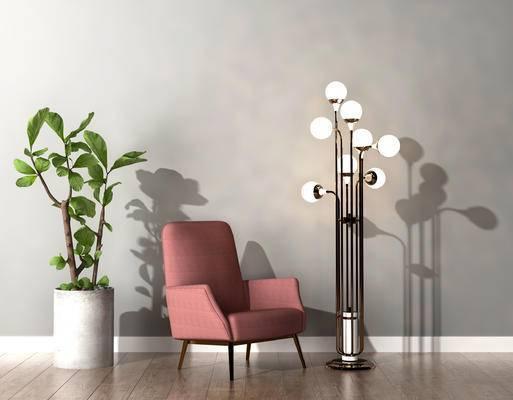 沙发组合, 落地灯, 单人沙发, 盆栽, 现代