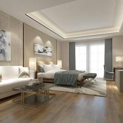 欧式卧室, 双人床, 沙发床尾塌, 壁画, 台灯, 欧式沙发, 茶几, 桌椅组合, 落地灯, 地毯, 柜子, 欧式
