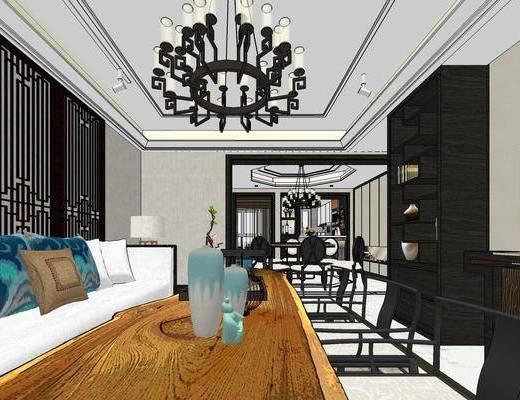 客厅, 沙发, 茶几, 餐厅, 餐桌, 椅子, 吊灯, 厨房, 摆件, 新中式, 新中式餐厅, 新中式客厅