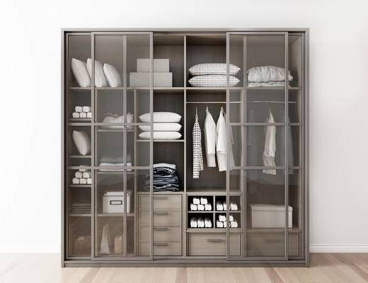 摆件组合, 衣柜, 衣物, 抱枕, 现代