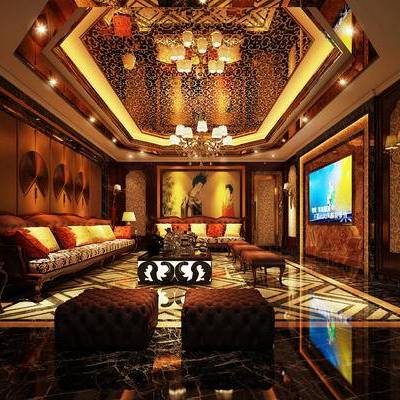 KTV, 多人沙发, 台灯, 茶几, 凳子, 壁画, 壁灯, 边几, 中式