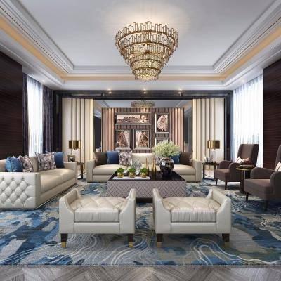 后现代会客厅, 皮革沙发, 茶几, 单人沙发, 吊灯, 相框, 边几, 台灯, 地毯, 后现代