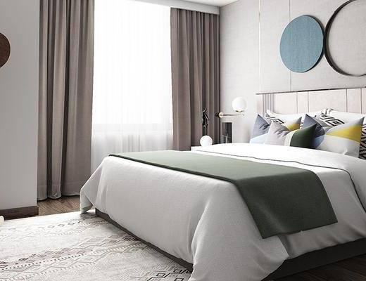 现代卧室, 双人床, 床头柜, 台灯, 置物架, 现代