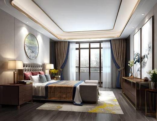 新中式卧室, 双人床, 床头柜, 台灯, 床尾塌, 电视柜, 边几, 新中式
