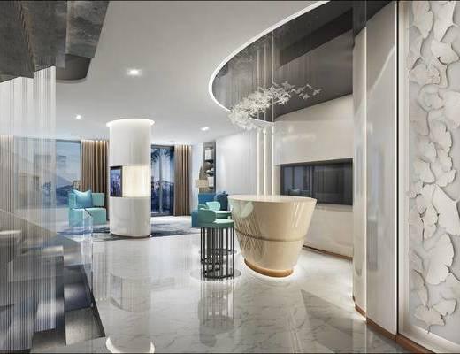 会客区, 壁画, 吧台, 吧椅, 吊灯, 椅子, 置物柜, 台灯, 现代