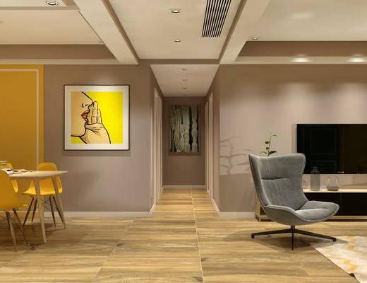 现代客餐厅, 椅子, 吊灯, 壁画, 茶几, 桌子, 电视柜, 现代