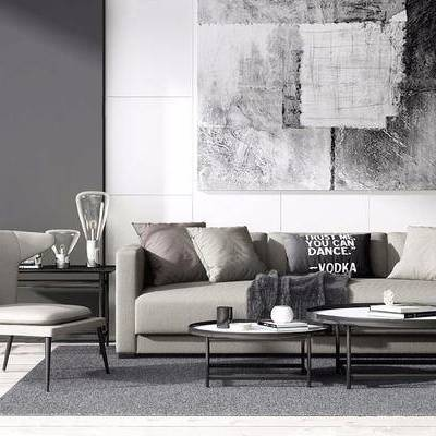 北欧简约, 沙发茶几组合, 台灯, 椅子, 北欧, 下得乐3888套模型合辑