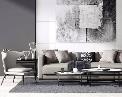 北欧简约, 沙发茶几组合, 台灯, 椅子, 北欧
