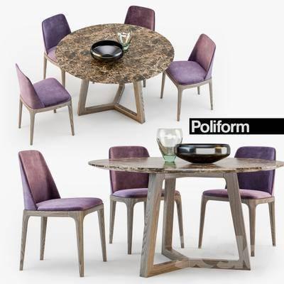 美式, 餐桌, 圆桌, 椅子