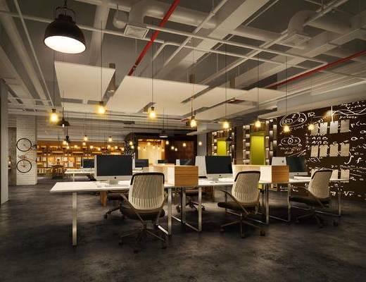 工业风办公室, 吊灯, 桌子, 椅子, 置物柜, 工业风