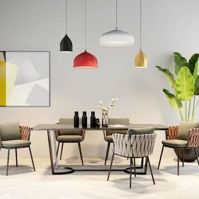 桌椅组合, 壁画, 吊灯, 桌子, 椅子, 盆栽, 北欧