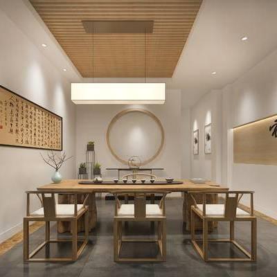 茶艺间, 壁画, 桌子, 椅子, 吊灯, 盆栽, 中式