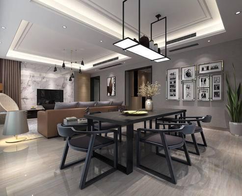 现代简约, 客厅, 餐厅, 吊灯, 桌椅组合, 沙发茶几组合